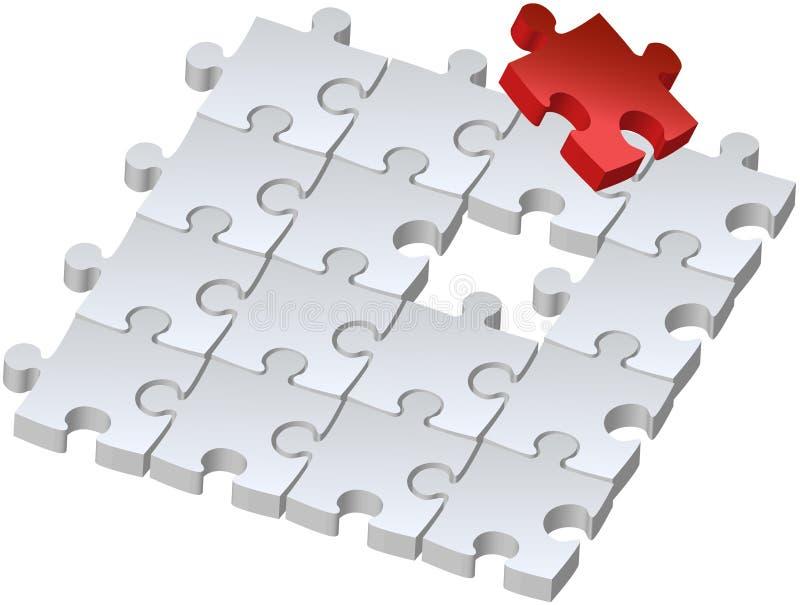 Puzzle rosso illustrazione di stock