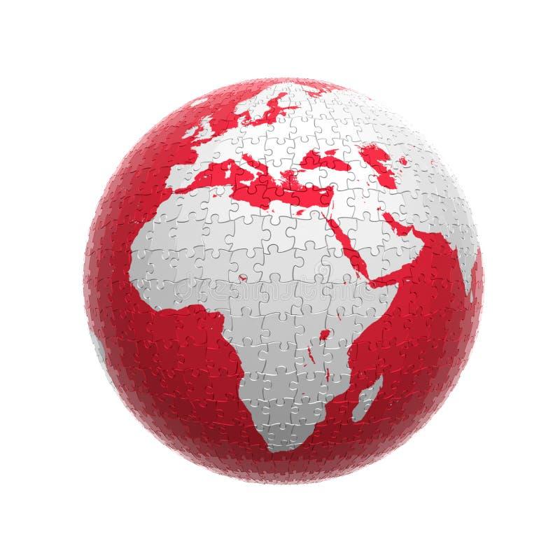 Puzzle rouge de globe illustration de vecteur