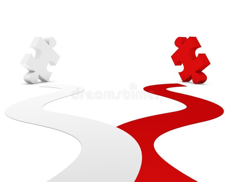 Puzzle rouge et blanc illustration de vecteur