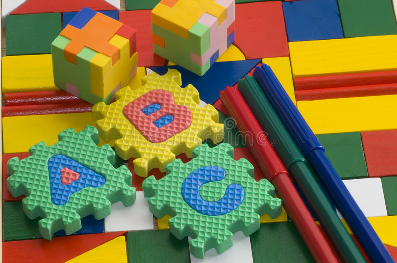 Puzzle rubber on colorful background royalty free stock image