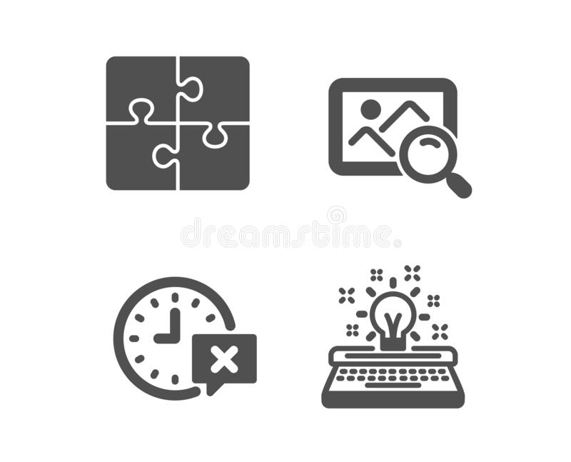 Puzzle, Search photo and Time icons. Typewriter sign. Engineering strategy, Find image, Remove alarm. Vector. Set of Puzzle, Search photo and Time icons stock illustration