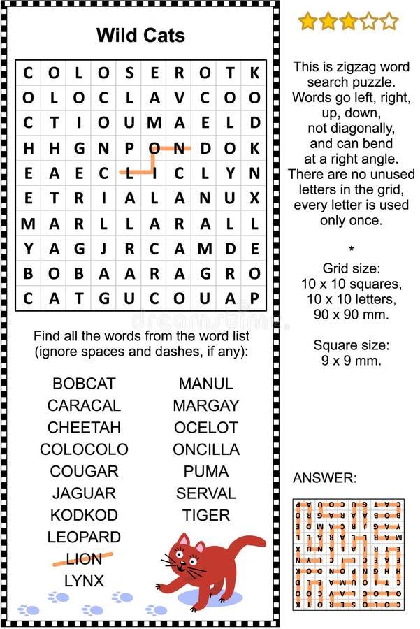 Puzzle selvaggio di ricerca di parola dei gatti royalty illustrazione gratis