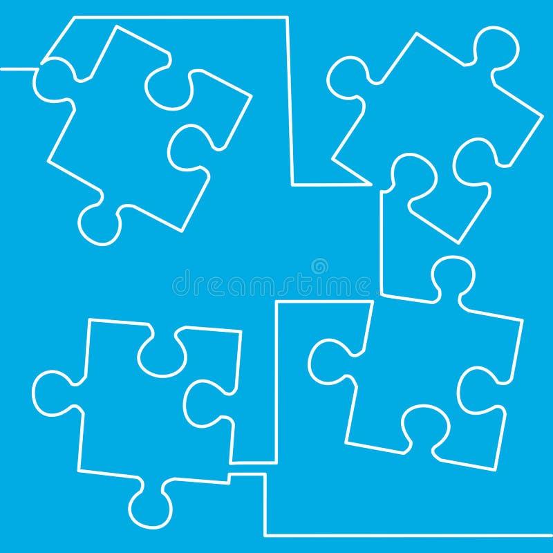 Puzzle semplice presentazione di affari di quattro pezzi illustrazione vettoriale