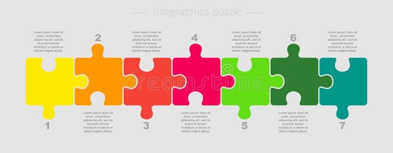 Puzzle Seven Pieces Part for Business Presentation. Puzzle Seven Pieces Parts for Business Presentation. Line Infographics. 7 Steps Process Line Card. Section vector illustration