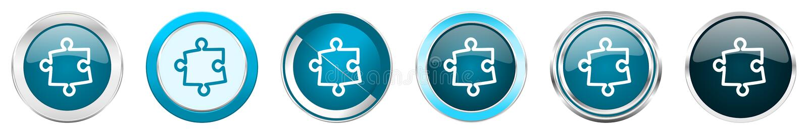 Puzzle silver metallic chrome border icons in 6 options, set of web blue round buttons isolated on white background.  royalty free illustration