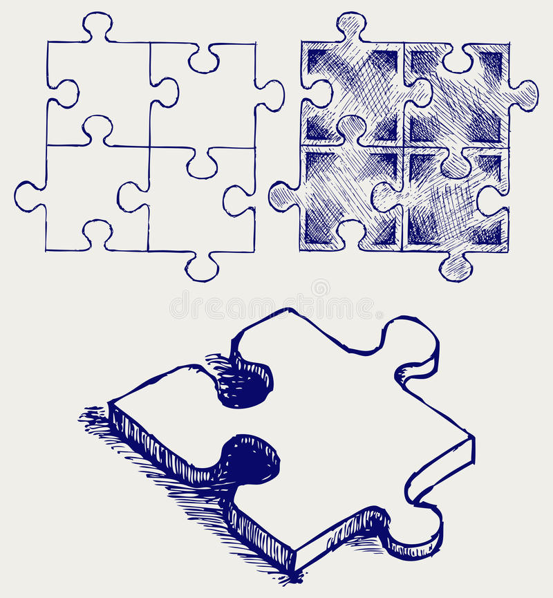Download Puzzle sketch stock vector. Image of line, leisure, outline - 26975261