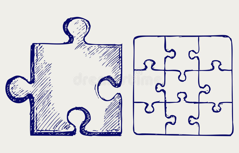 Download Puzzle sketch stock vector. Image of drawing, design - 26975280