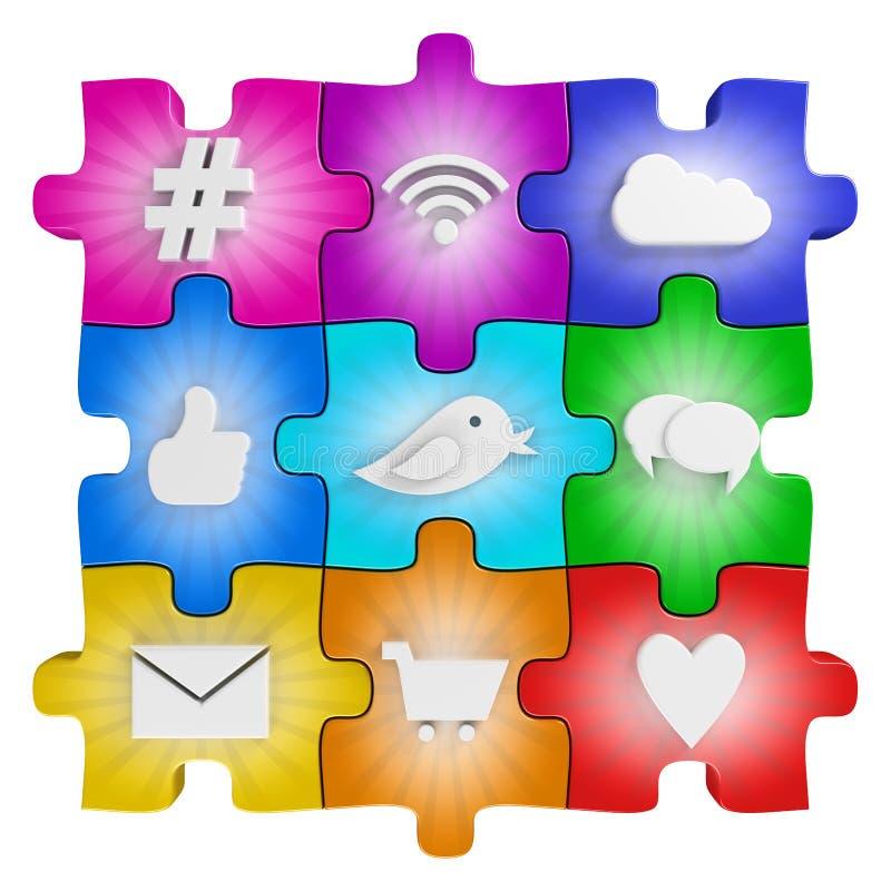 Puzzle social de media illustration libre de droits