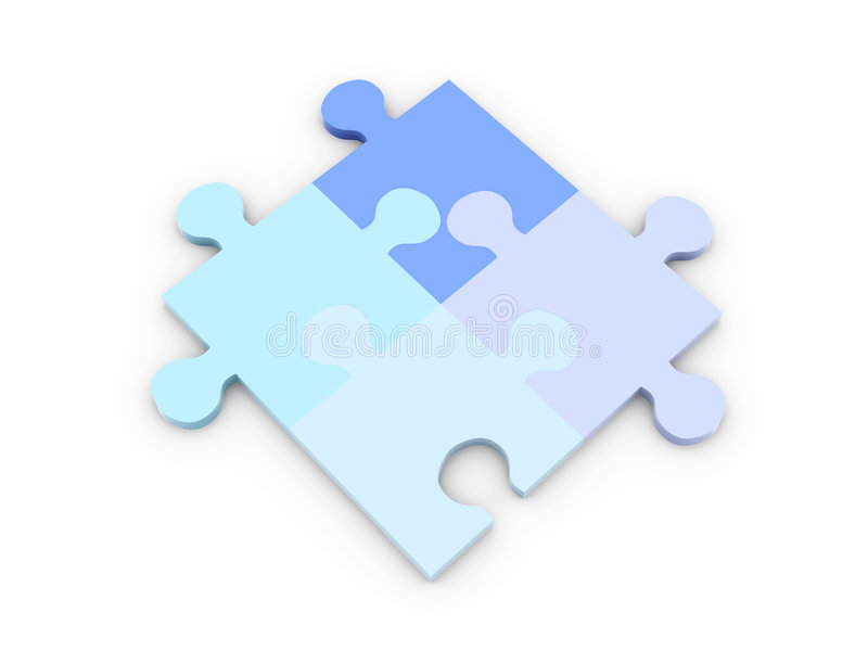 Puzzle Solution. 3D Illustration. Isolated on white vector illustration