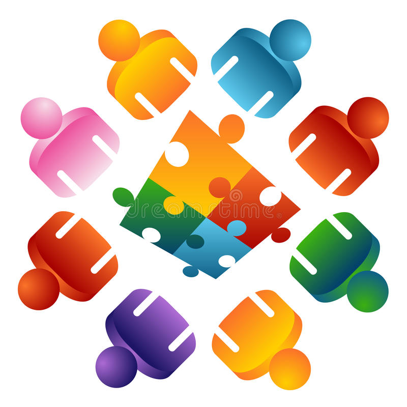 Puzzle Solving Team People stock illustration