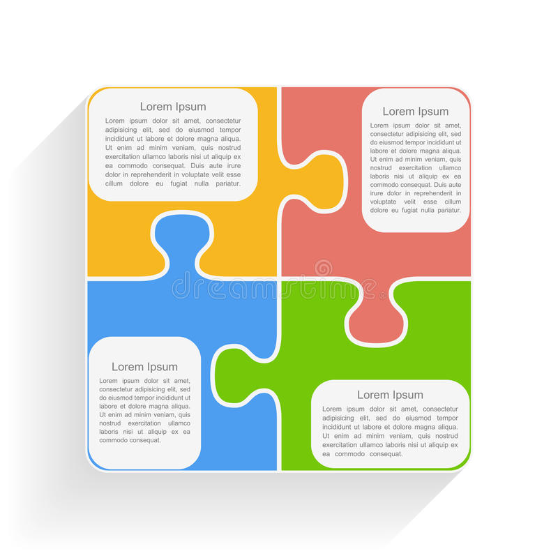 Puzzle Square. Square made of puzzle pieces with place for text stock illustration