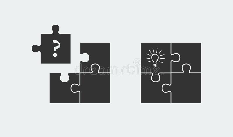 Puzzle symbolizing idea and solution. Simple solutions concept stock illustration