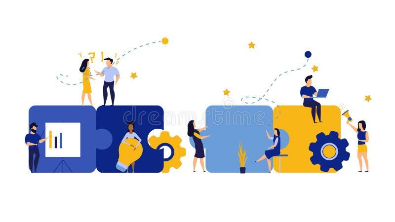 Puzzle team work vector illustration concept partner. Partnership teamwork business people collaboration together vector design. Concept jigsaw part solution stock illustration