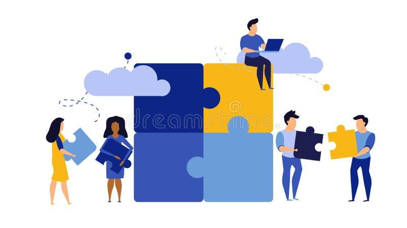 Puzzle team work vector illustration concept partner. Partnership teamwork business people collaboration together vector design. Concept jigsaw part solution vector illustration