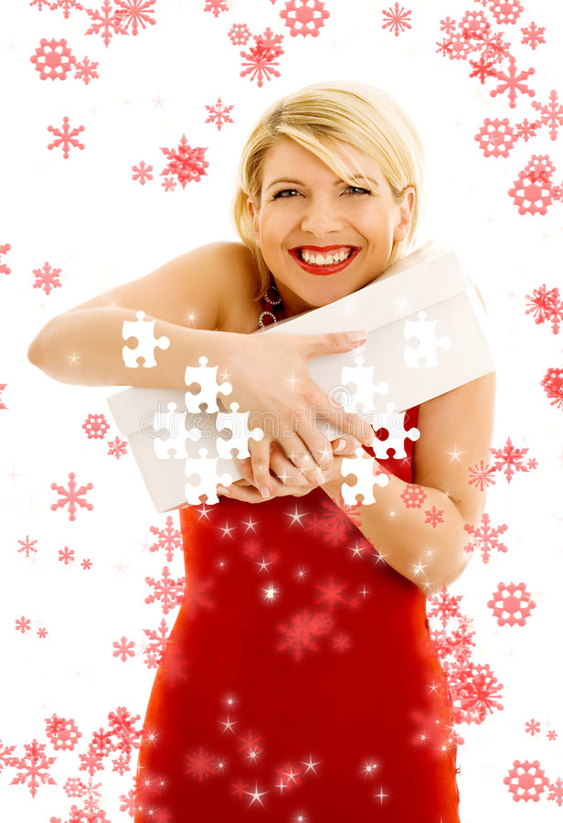 Download Puzzle Of Thankful Girl With Snowflakes Stock Image - Image: 5957003