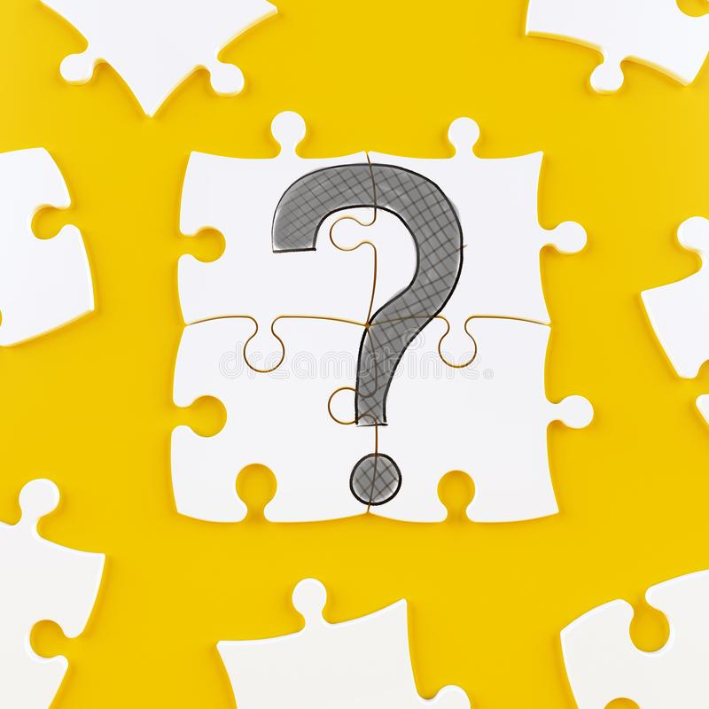 Puzzle tiles on a yellow background forming a question mark. White puzzle tiles with a question mark drawn stock photo