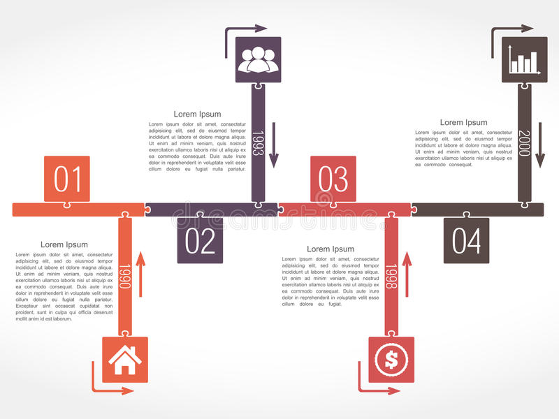 Puzzle Timeline. Infographics timeline design template, puzzle style royalty free illustration