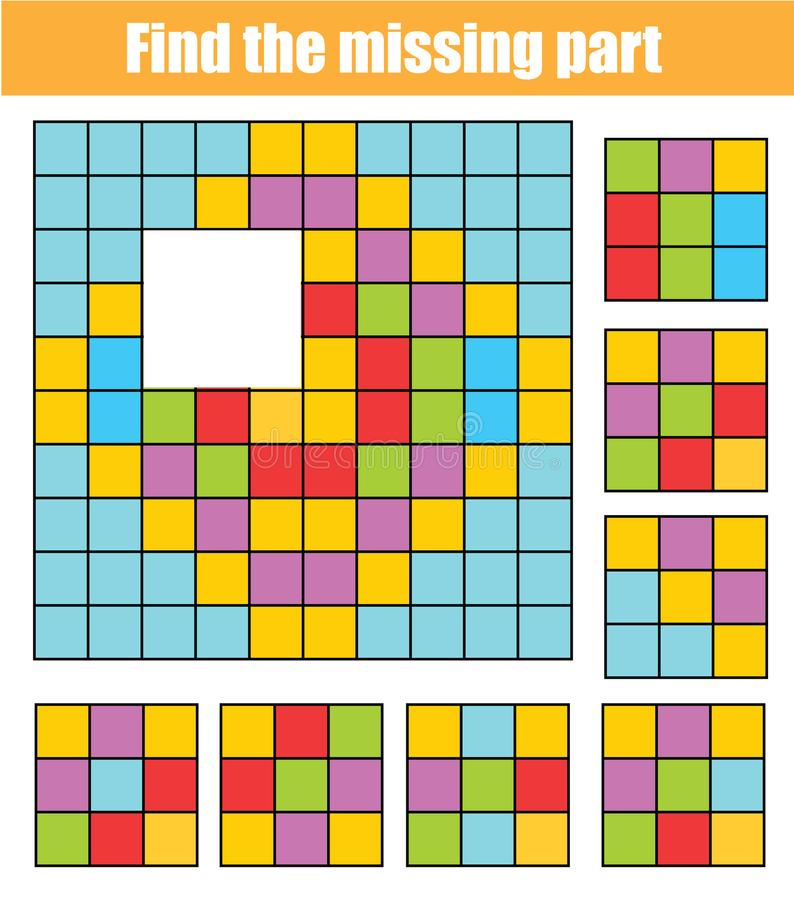 Puzzle for toddlers. Find the missing part of picture. Educational children game with abstract pattern royalty free illustration