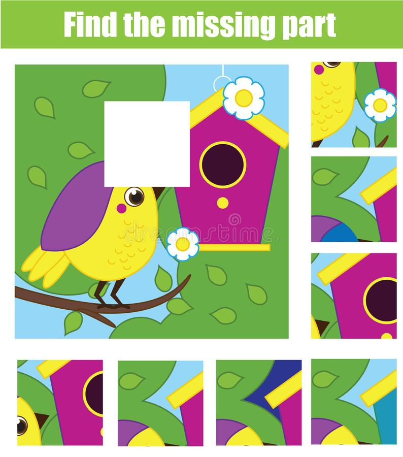 Puzzle for toddlers. Find the missing part of picture. Educational children game animals theme. vector illustration