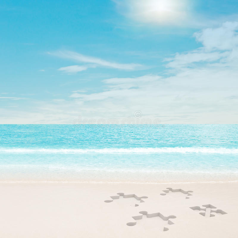 Download Puzzle Traces On Beach Stock Photo - Image: 17838440