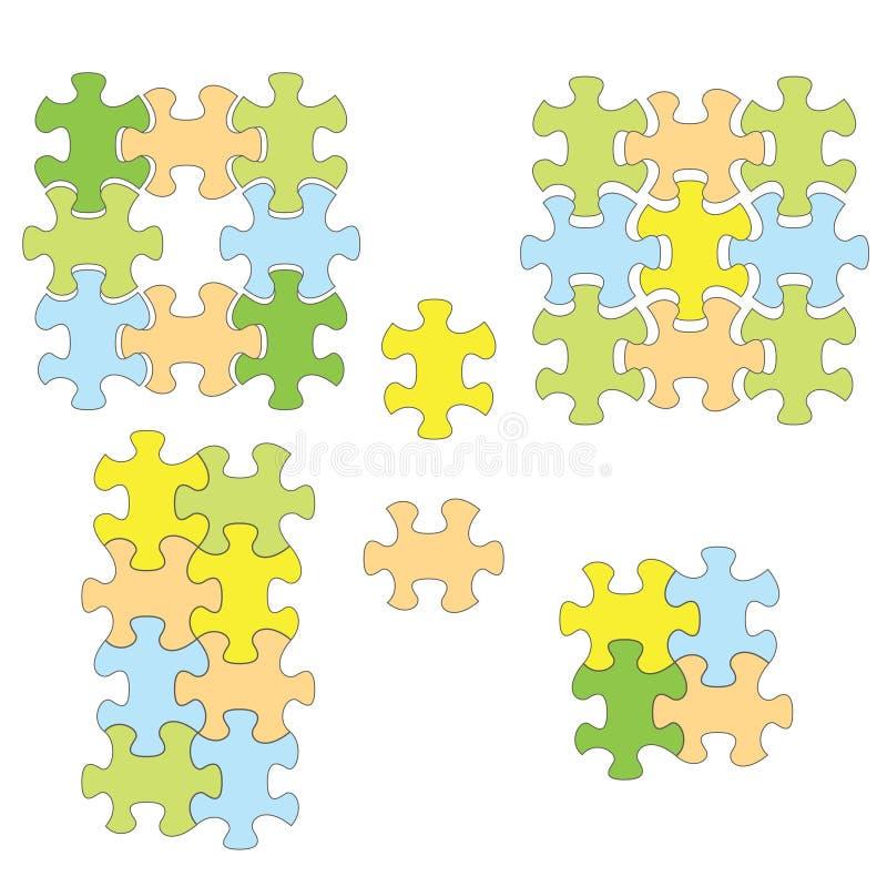 Puzzle variopinti come infographic - insieme di vettore degli elementi royalty illustrazione gratis