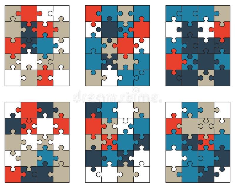 Puzzle variopinti, pezzi isolati illustrazione vettoriale
