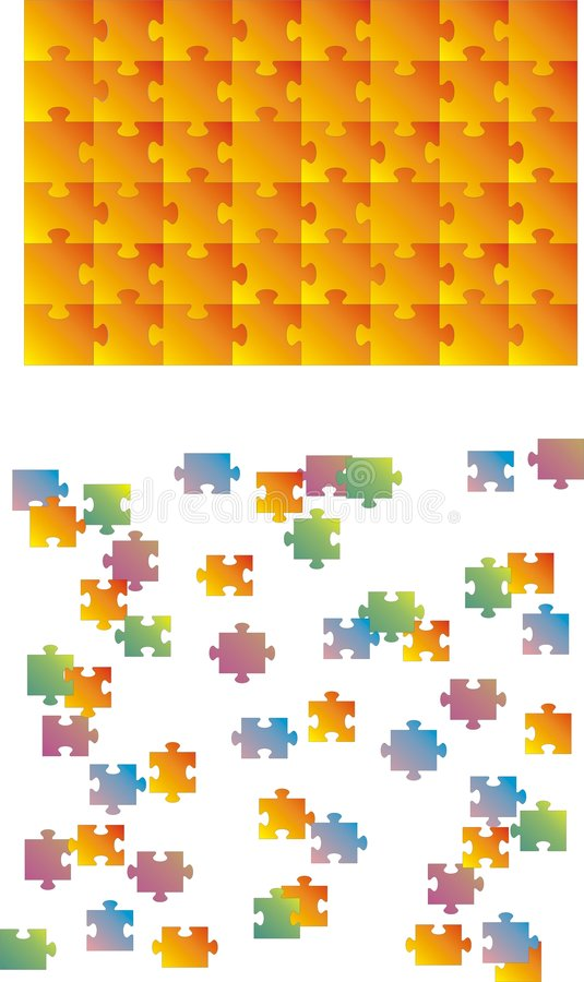 Puzzle vector. (every piece is for itself) easy remove and change color royalty free illustration