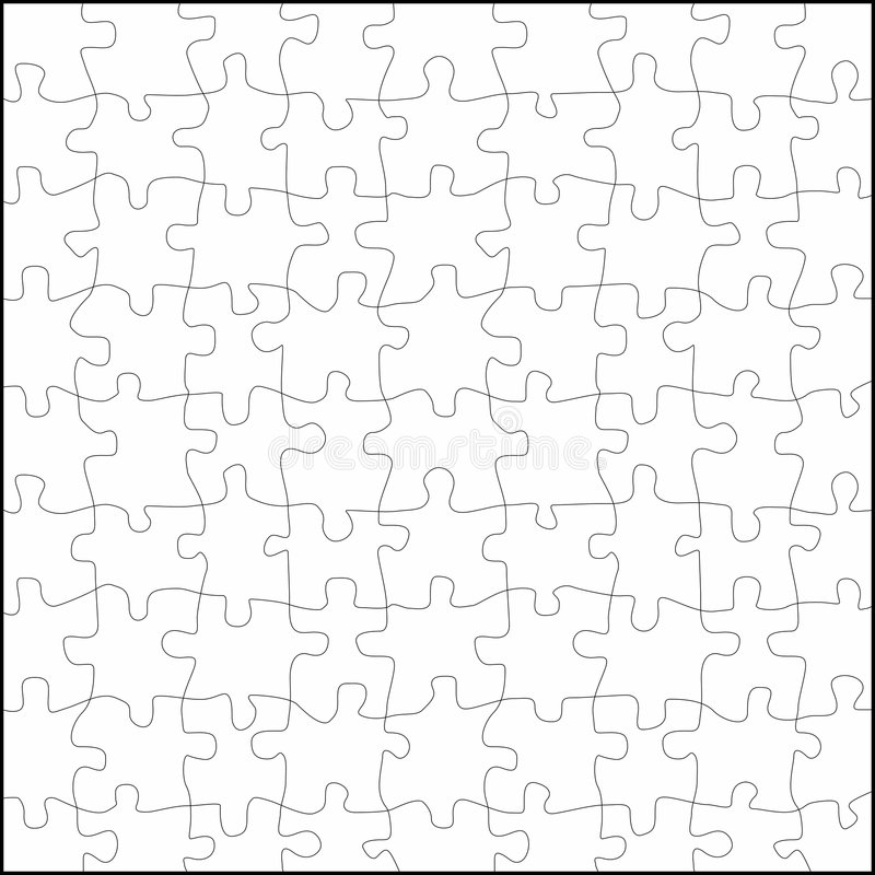 Puzzle vector. A square empty puzzle in black and withe stock illustration