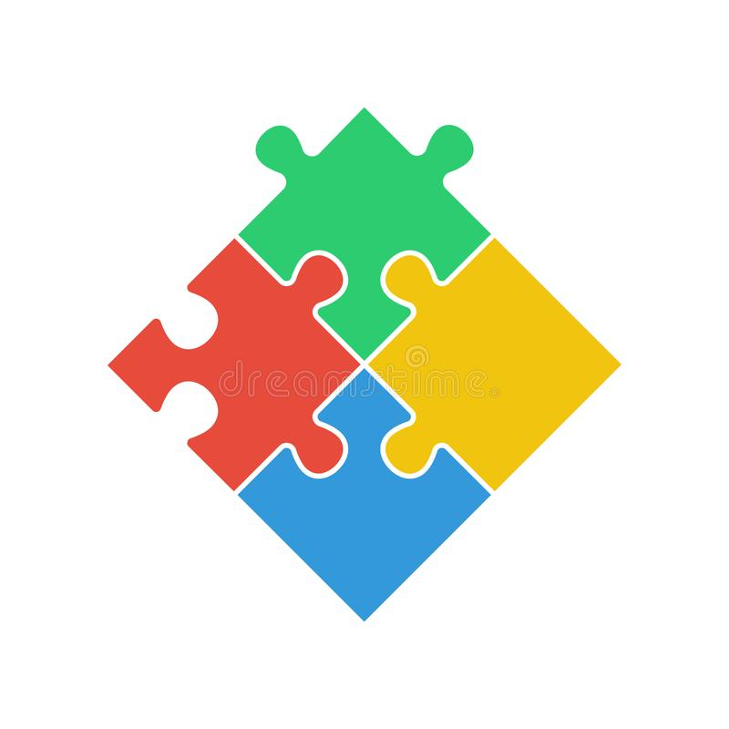 Puzzle - Vector icon. Set of four colorful piece puzzle on white background vector illustration