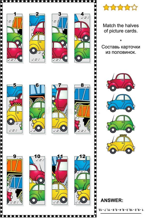 Puzzle visivo - abbini le metà - automobili e camion sulla strada illustrazione di stock
