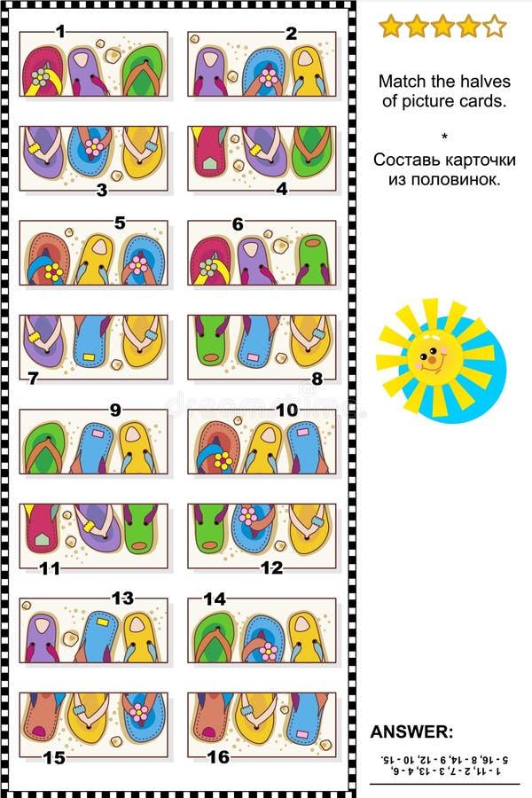 Puzzle visivo - abbini le metà - flip-flop variopinti illustrazione di stock