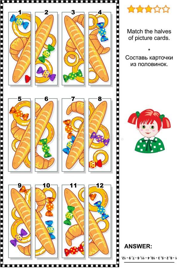 Puzzle visivo - abbini le metà - merci al forno e caramelle illustrazione vettoriale