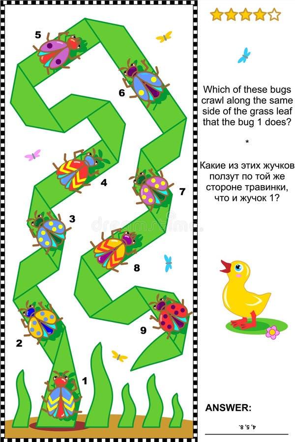 Puzzle visivo con gli scarabei e gli insetti illustrazione vettoriale