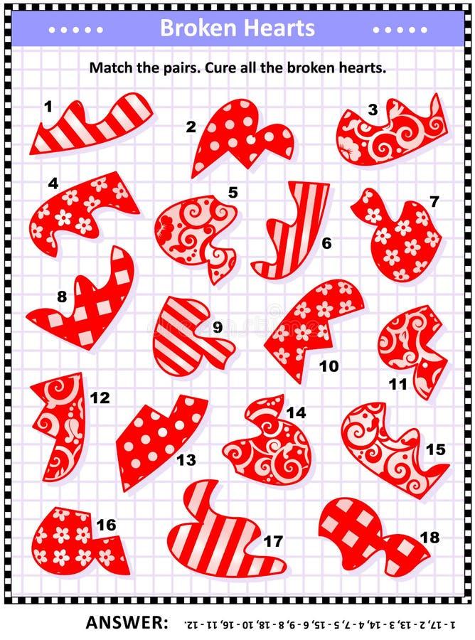 Puzzle visivo del biglietto di S. Valentino - abbini le metà dei cuori rotti royalty illustrazione gratis