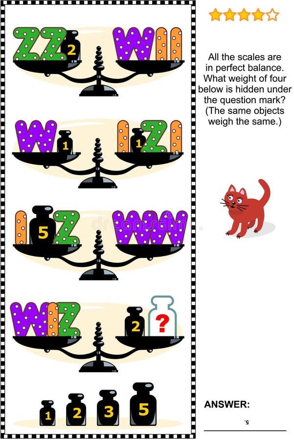 Puzzle visivo di per la matematica con le scale, i pesi e le lettere I, W, Z royalty illustrazione gratis