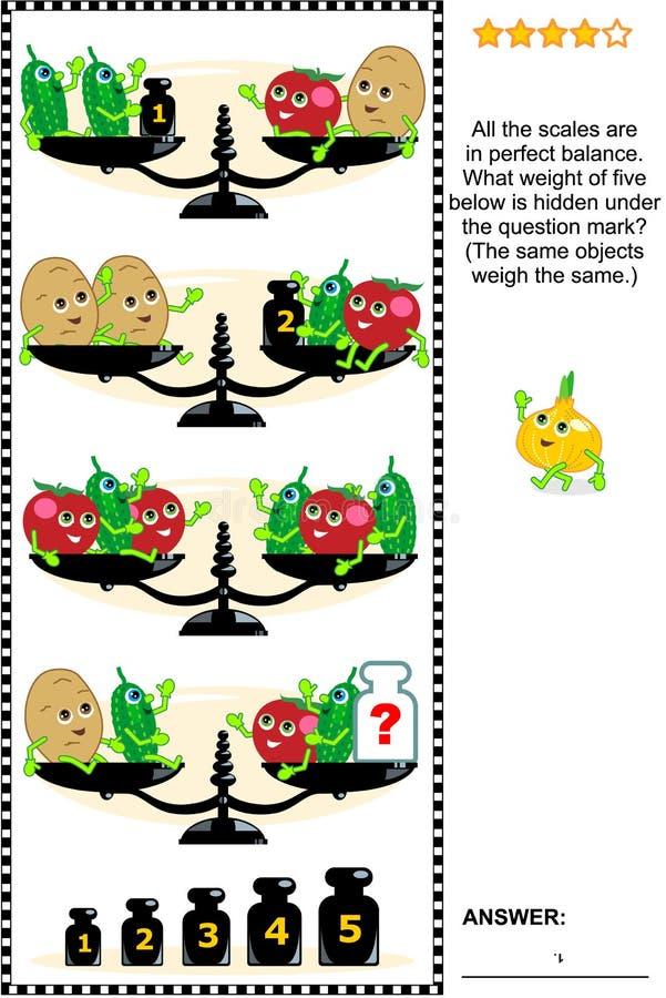 Puzzle visivo di per la matematica con le scale, i pesi e le verdure illustrazione di stock