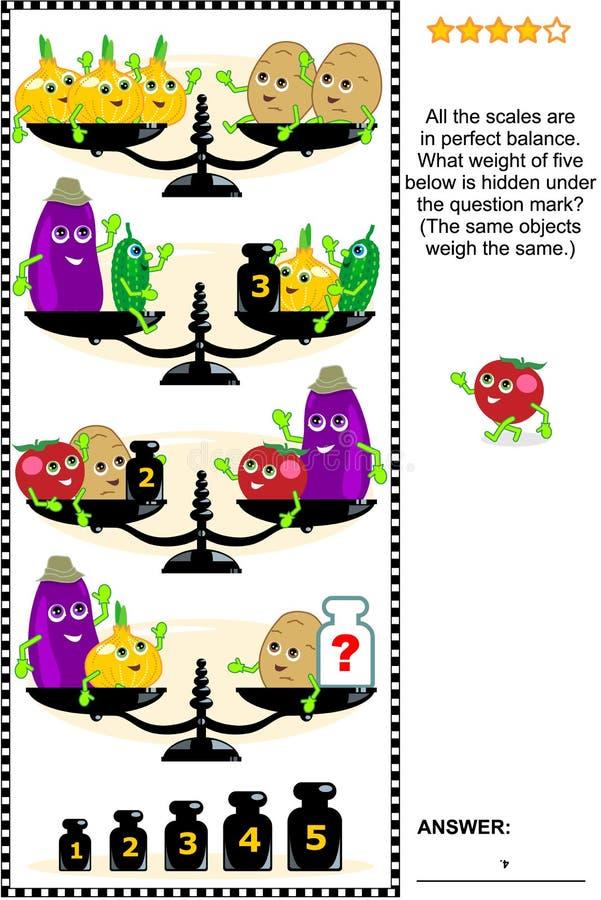 Puzzle visivo di per la matematica con le scale, i pesi e le verdure illustrazione vettoriale