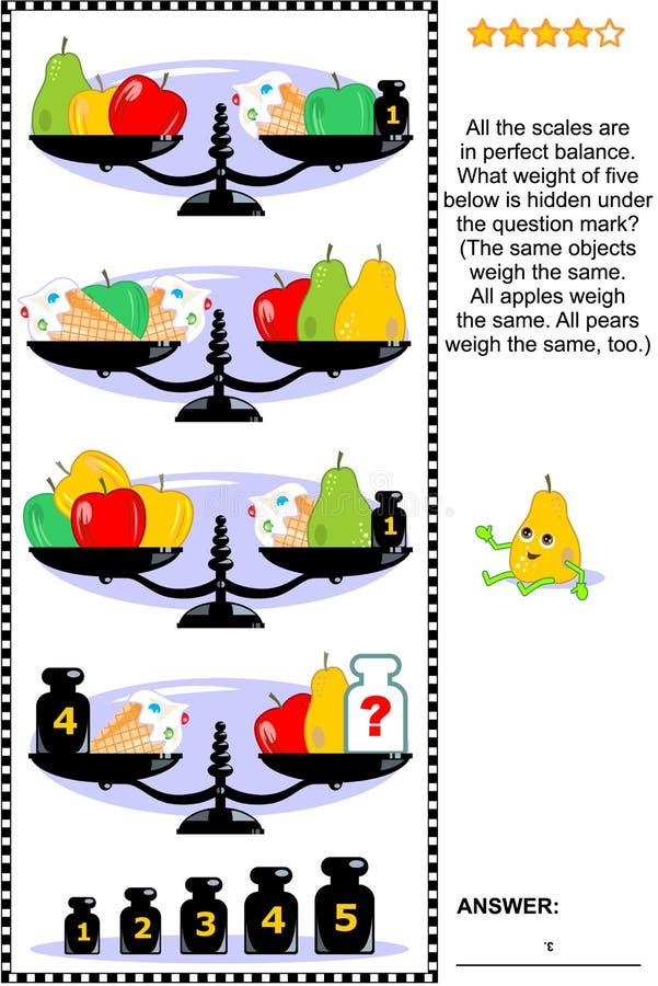 Puzzle visivo di per la matematica con le scale, i pesi, le mele, le pere ed il gelato illustrazione vettoriale