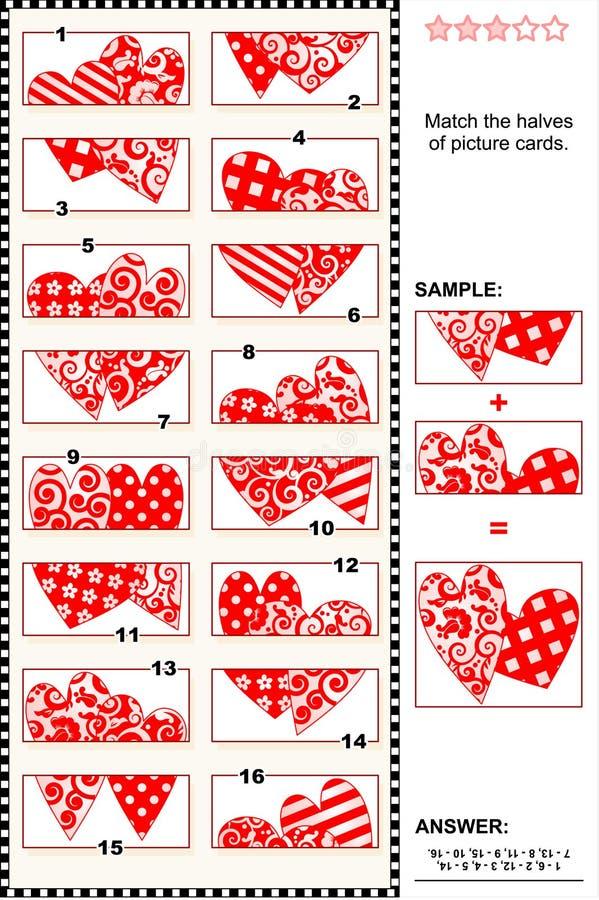 Puzzle visivo di San Valentino - abbini le metà - cuori illustrazione di stock
