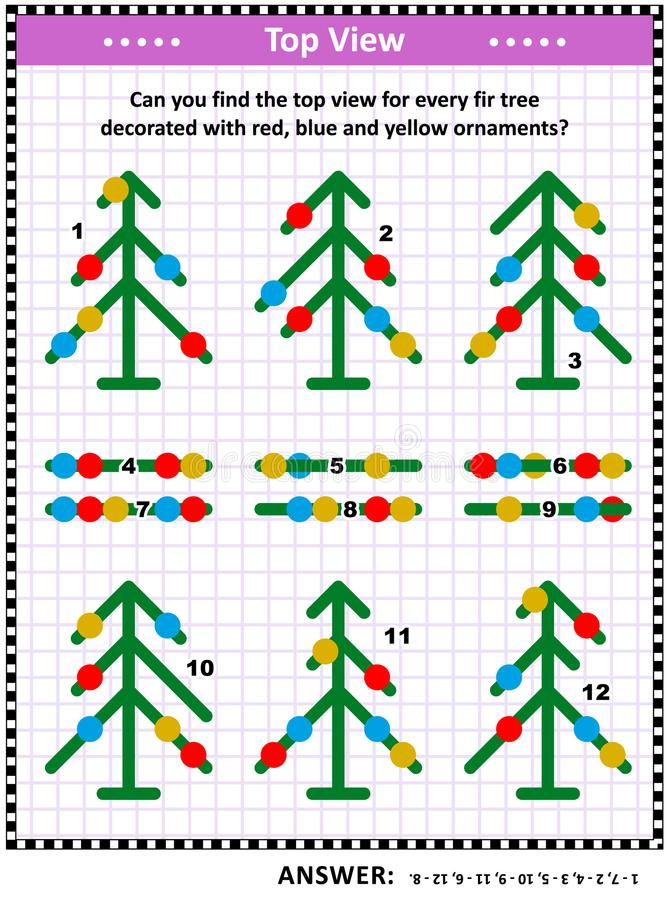 Puzzle visivo di vista superiore con gli abeti e gli ornamenti di natale illustrazione di stock