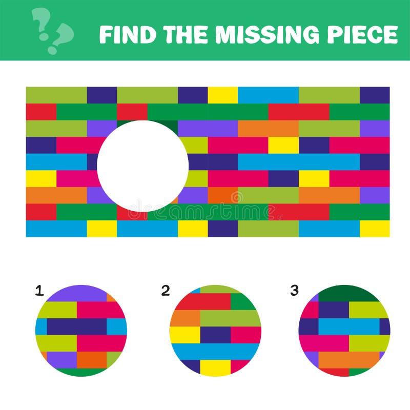 Puzzle visuel de logique Trouvez le morceau absent - d?concertez le jeu pour des enfants illustration de vecteur