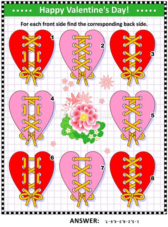 Puzzle visuel orienté de jour du ` s de Valentine - assortissez les arrières avant et illustration stock