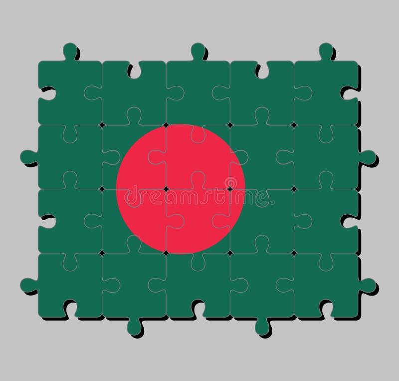 Puzzle von Bangladesch-Flagge in einer roten Diskette auf grünem Feld vektor abbildung