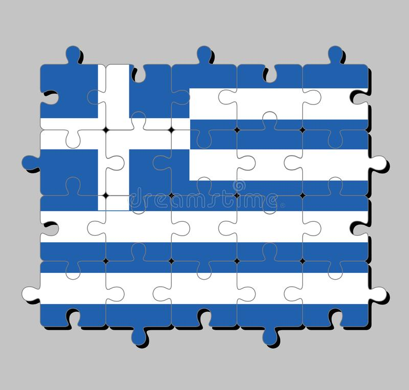 Puzzle von Griechenland-Flagge in neun Streifen von Blauem und von weißem; ein weißes Kreuz auf einem blauen Quadrat stock abbildung
