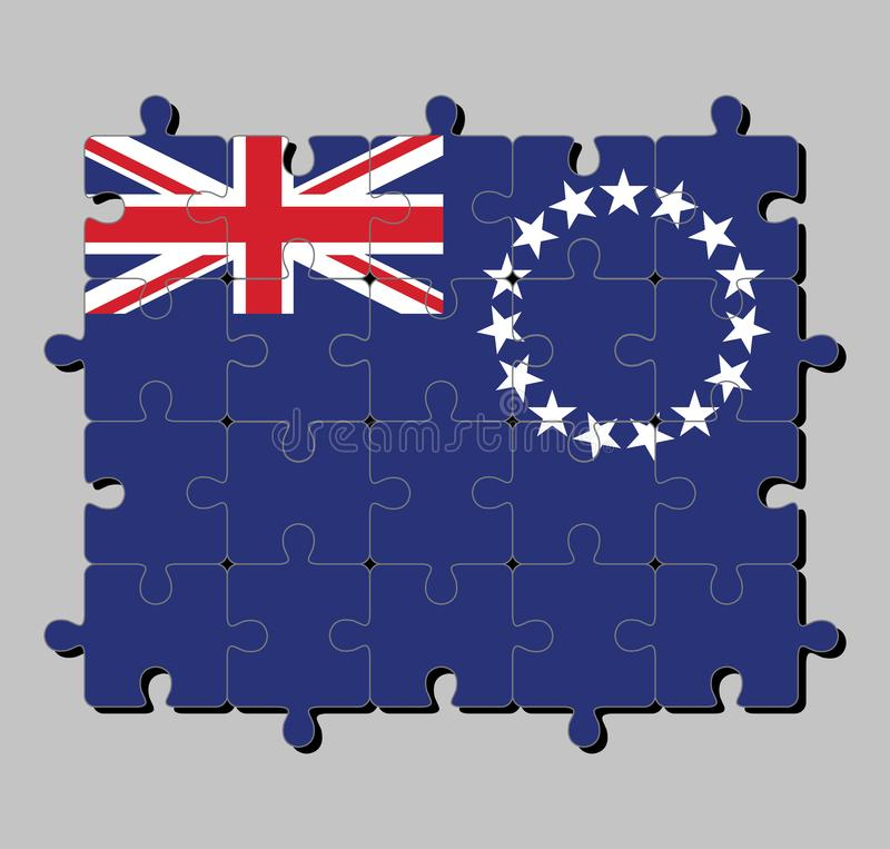 Puzzle von Koch-Islands-Flagge in der blauen Fahne mit einem Ring von Stern- und Union Jack lizenzfreie abbildung