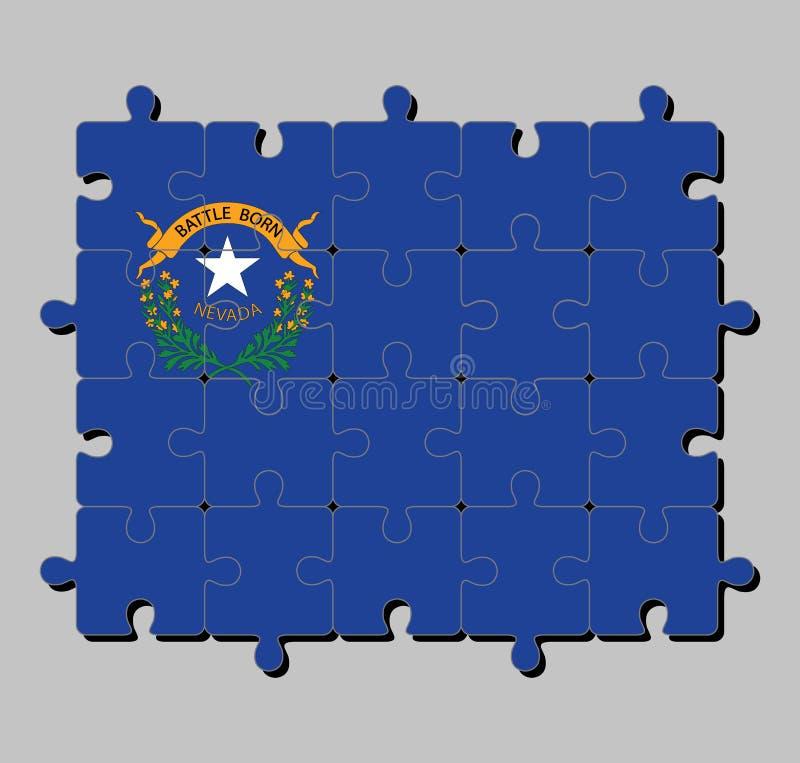 Puzzle von Nevada-Flagge in zwei Beifußniederlassungen, die einen silbernen Stern mit Text Nevada und dem Kampf geboren umkreisen stock abbildung