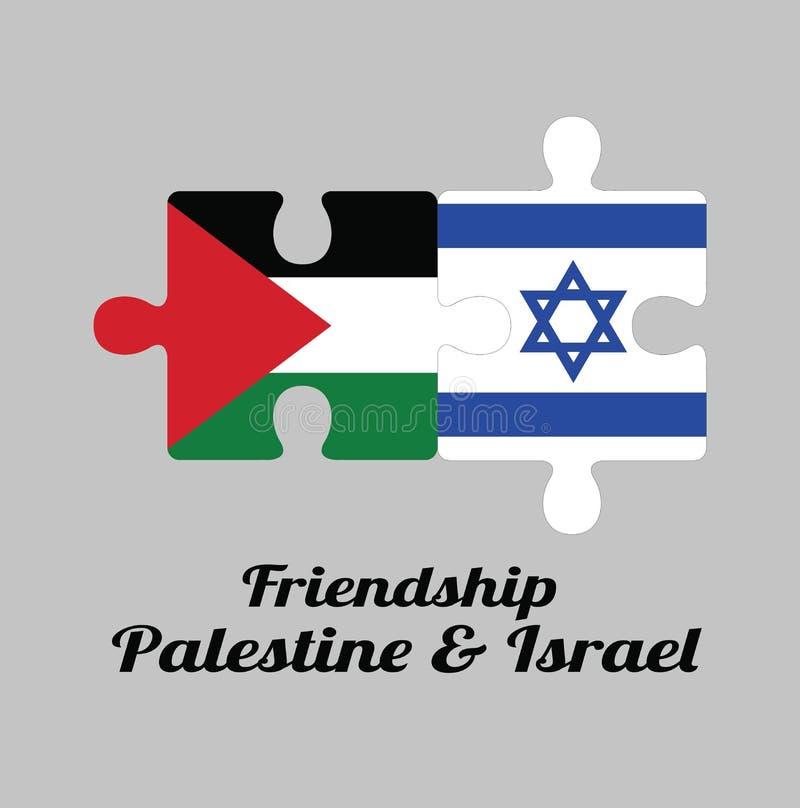 Puzzle von Palästina-Flagge und von Israel-Flagge mit Text: Freundschaft Palästina u. Israel lizenzfreie abbildung