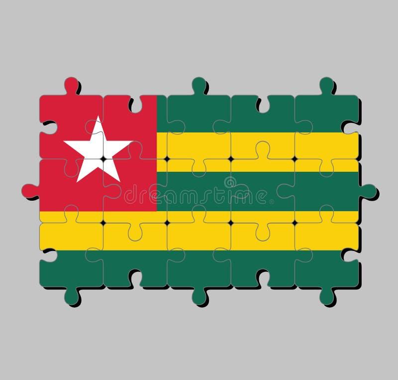 Puzzle von Togo-Flagge in fünf gleichen horizontalen Bändern Grün abwechselnd mit Gelb; wenn ein roter Bezirk einen weißen Stern  vektor abbildung