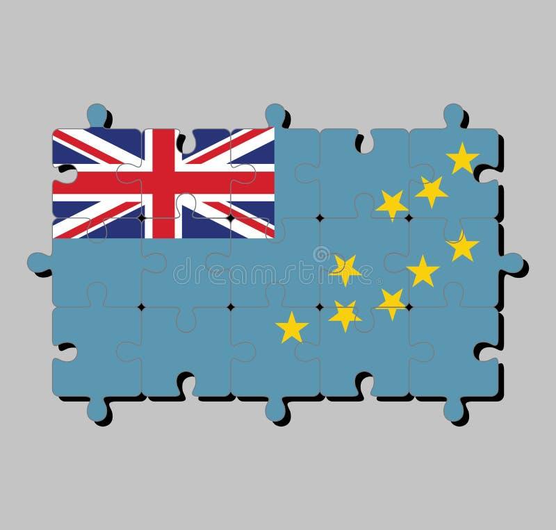 Puzzle von Tuvalu-Flagge in einer hellblauen Fahne mit der Karte der Insel von neun gelben Sternen lizenzfreie abbildung
