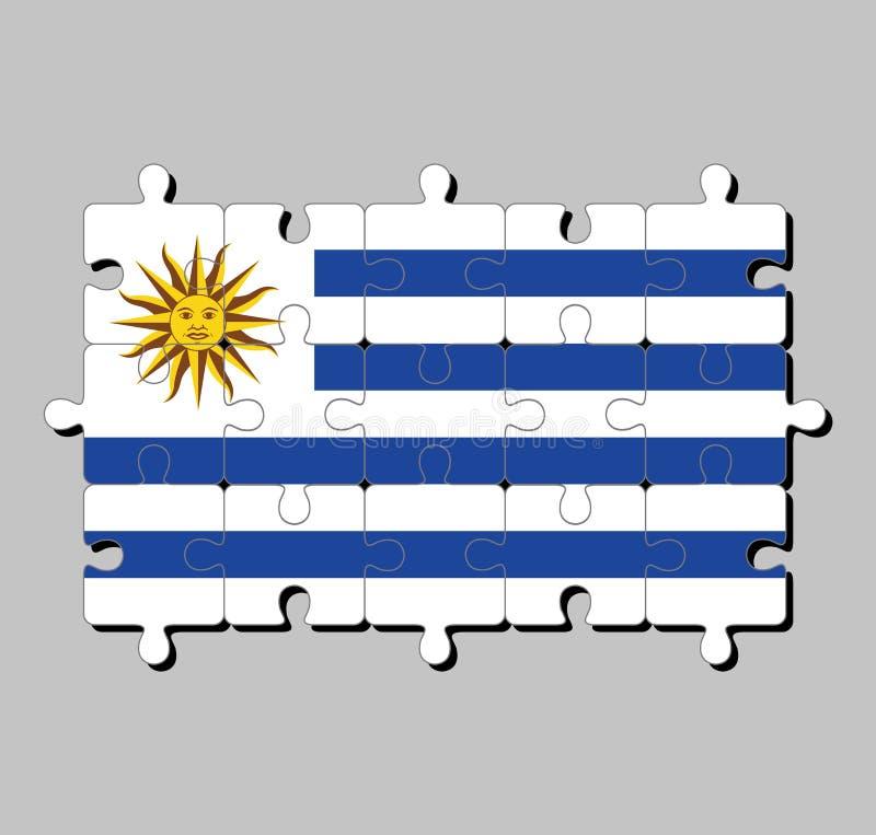 Puzzle von Uruguay-Flagge in den horizontalen Streifen der weißen Alternative mit hellblauem und des Sun von Mai lizenzfreie abbildung